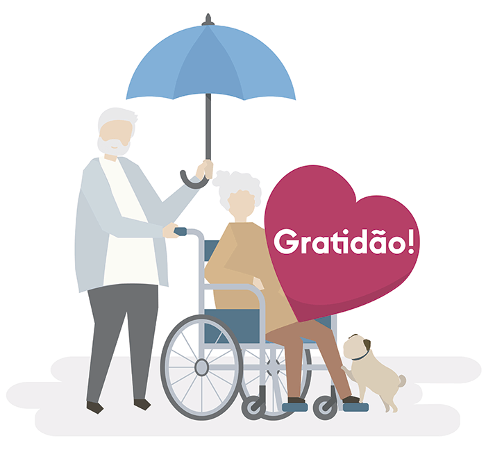 """Casal de idosos segurando coração com o dizer """"gratidão"""""""